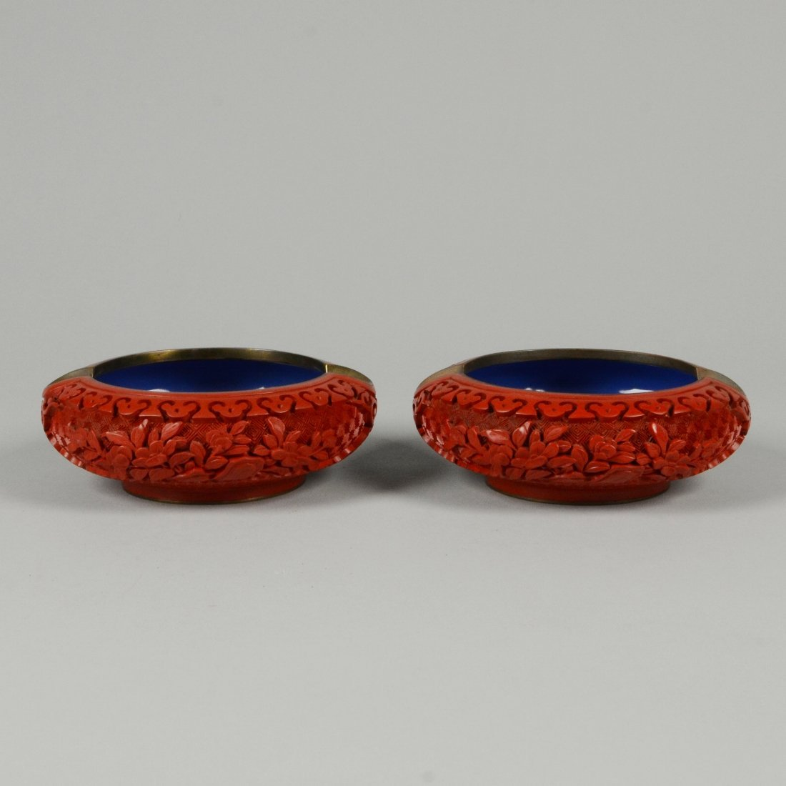 10: PAIR OF CARVED CINNABAR LACQUER ASHTRAYS