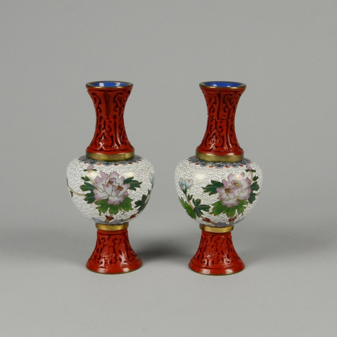 12: PAIR OF CINNABAR & CLOISONNÉ COMBINED VASES