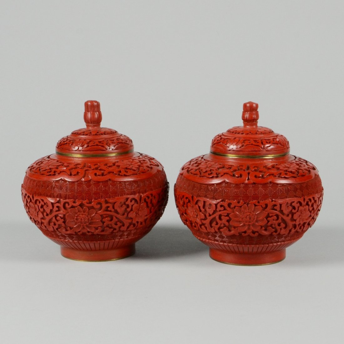 16: PAIR OF CARVED CINNABAR LACQUER JARS