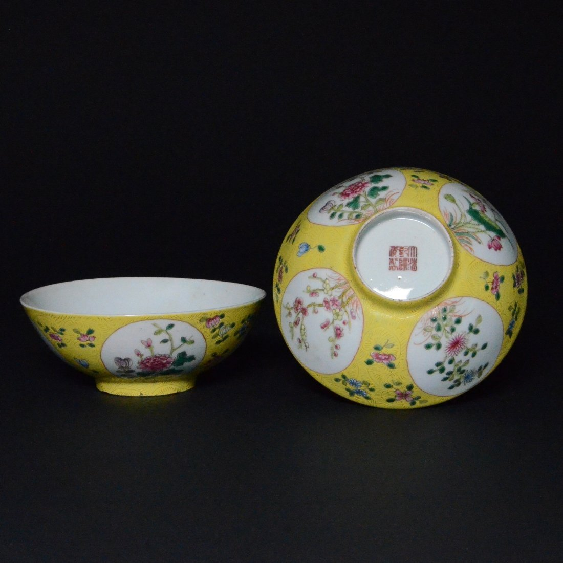 21: PAIR OF YELLOW FAMILLE ROSE PORCELAIN BOWLS