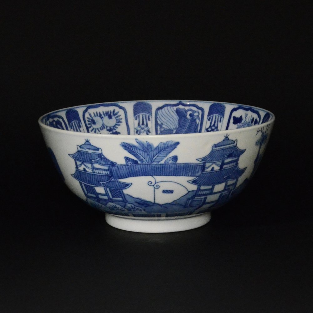 4: LARGE BLUE & WHITE PORCELAIN BOWL