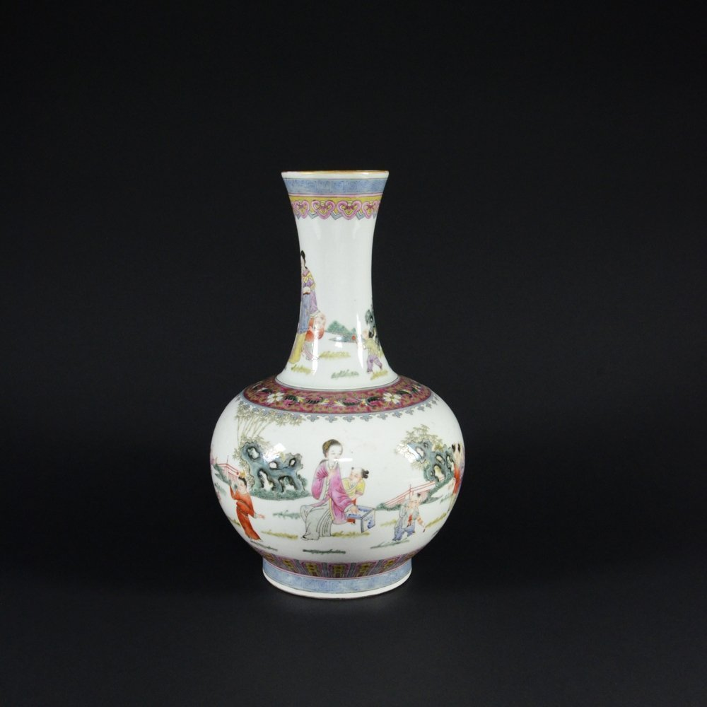 8: FAMILLE ROSE PORCELAIN VASE WITH FIGURAL NARRATIVE