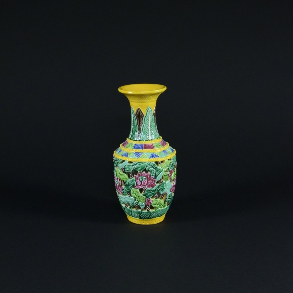 14: MULTICOLORED HOLLOWLY CARVED VASE