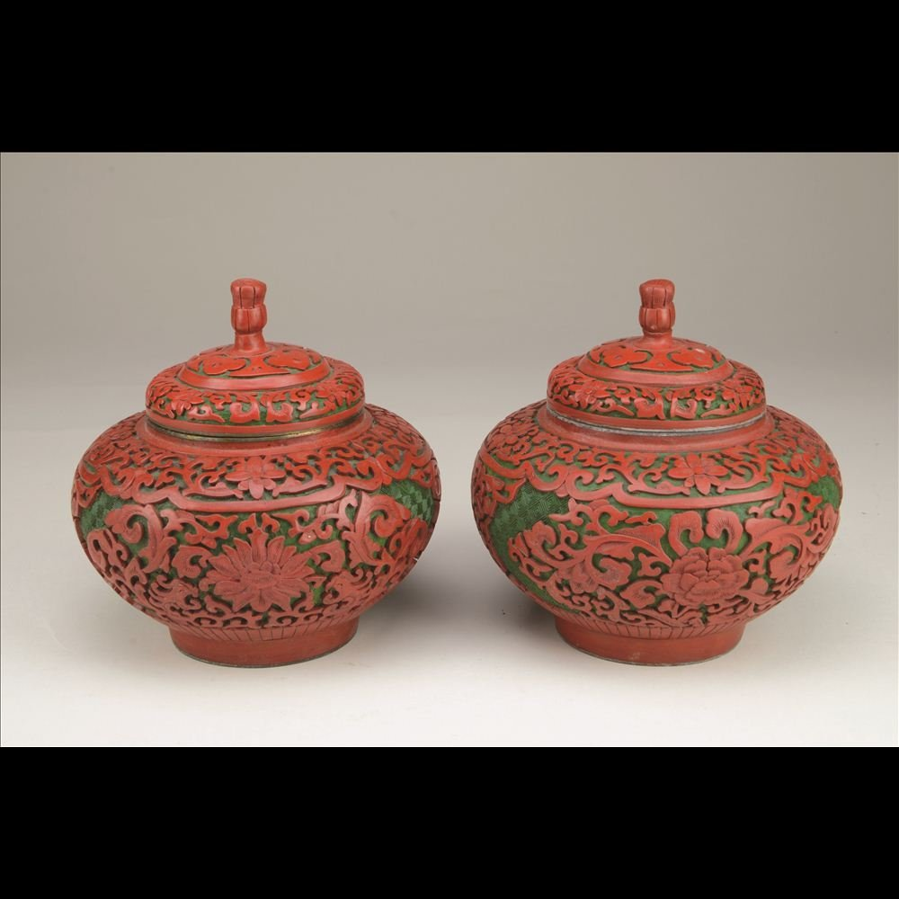 2: PAIR OF CARVED CINNABAR GREEN LACQUER JARS