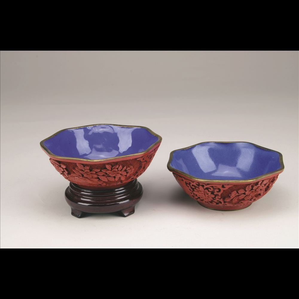 5: PAIR OF SMALL CARVED CINNABAR BOWLS
