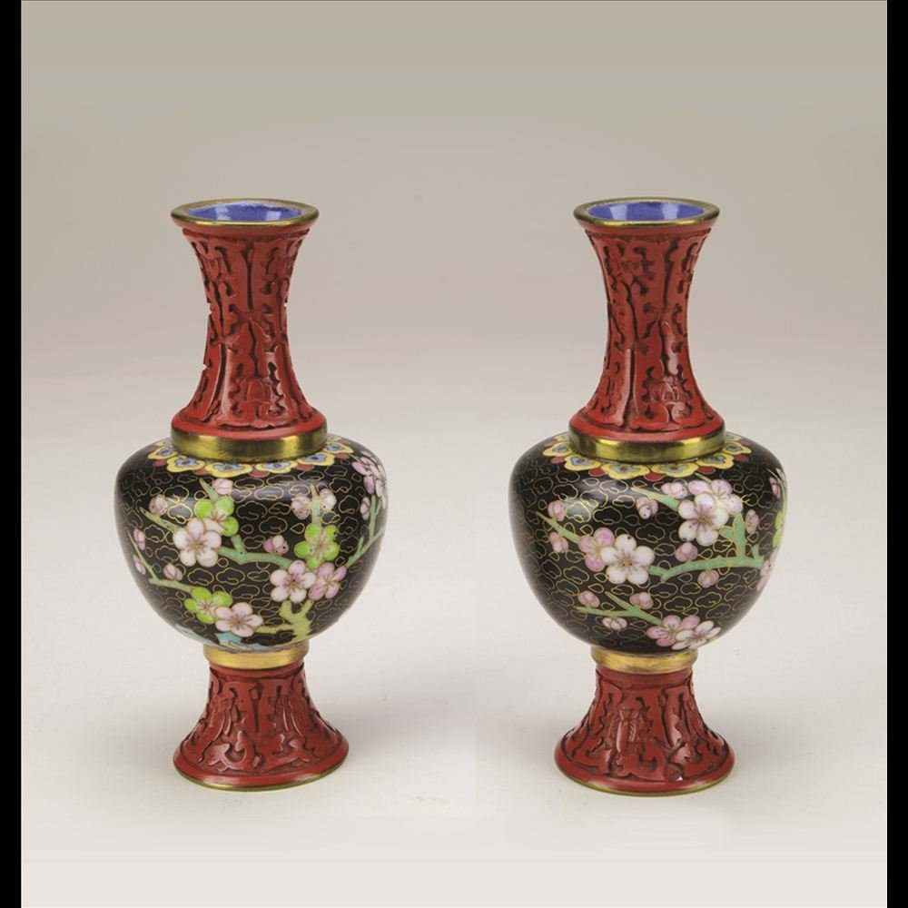 6: PAIR OF CINNABAR AND CLOISONNÉ COMBINED VASES