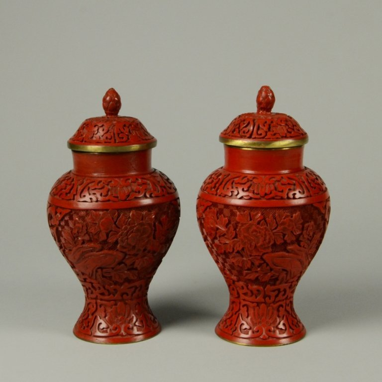 8: PAIR OF CARVED CINNABAR LACQUER JARS