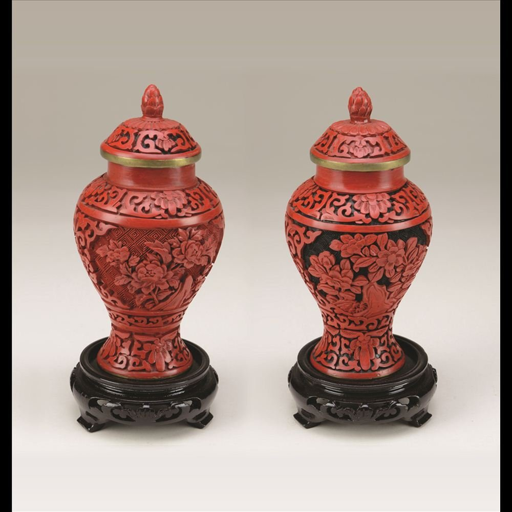 9: PAIR OF SMALL CARVED CINNABAR JARS