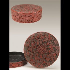 10: ROUND CARVED CINNABAR BOX AND COVER