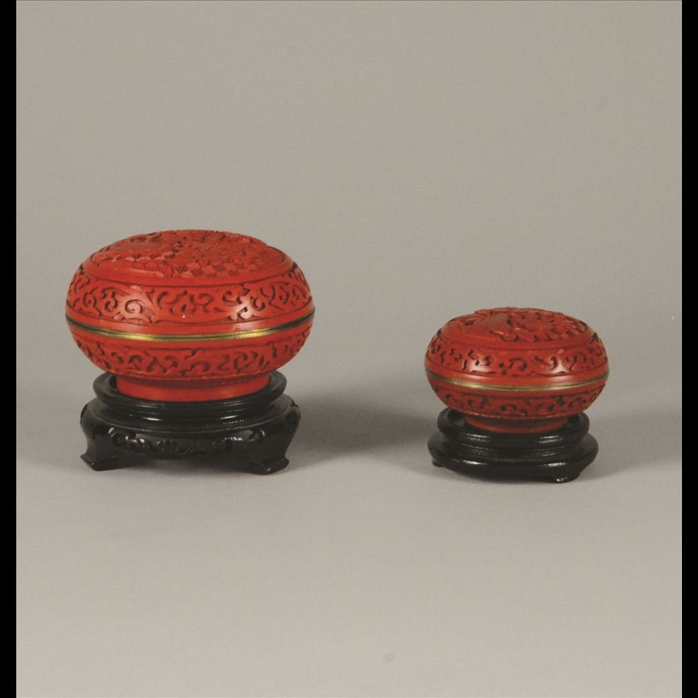 13: PAIR OF CARVED CINNABAR INKPAD ROUND BOXES