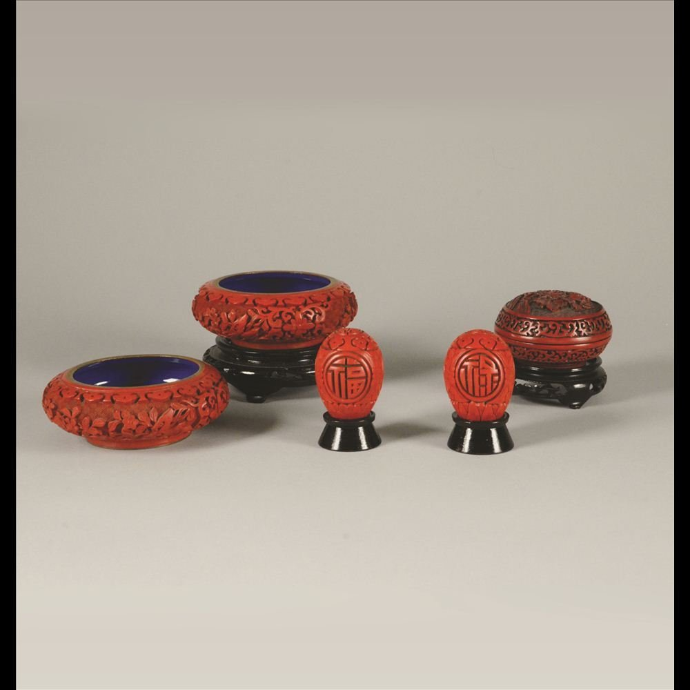 14: GROUP OF 5 CARVED CINNABAR PIECES