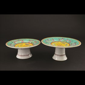 19: PAIR OF TURQUOISE GROUND FAMILLE ROSE STEM PLATES