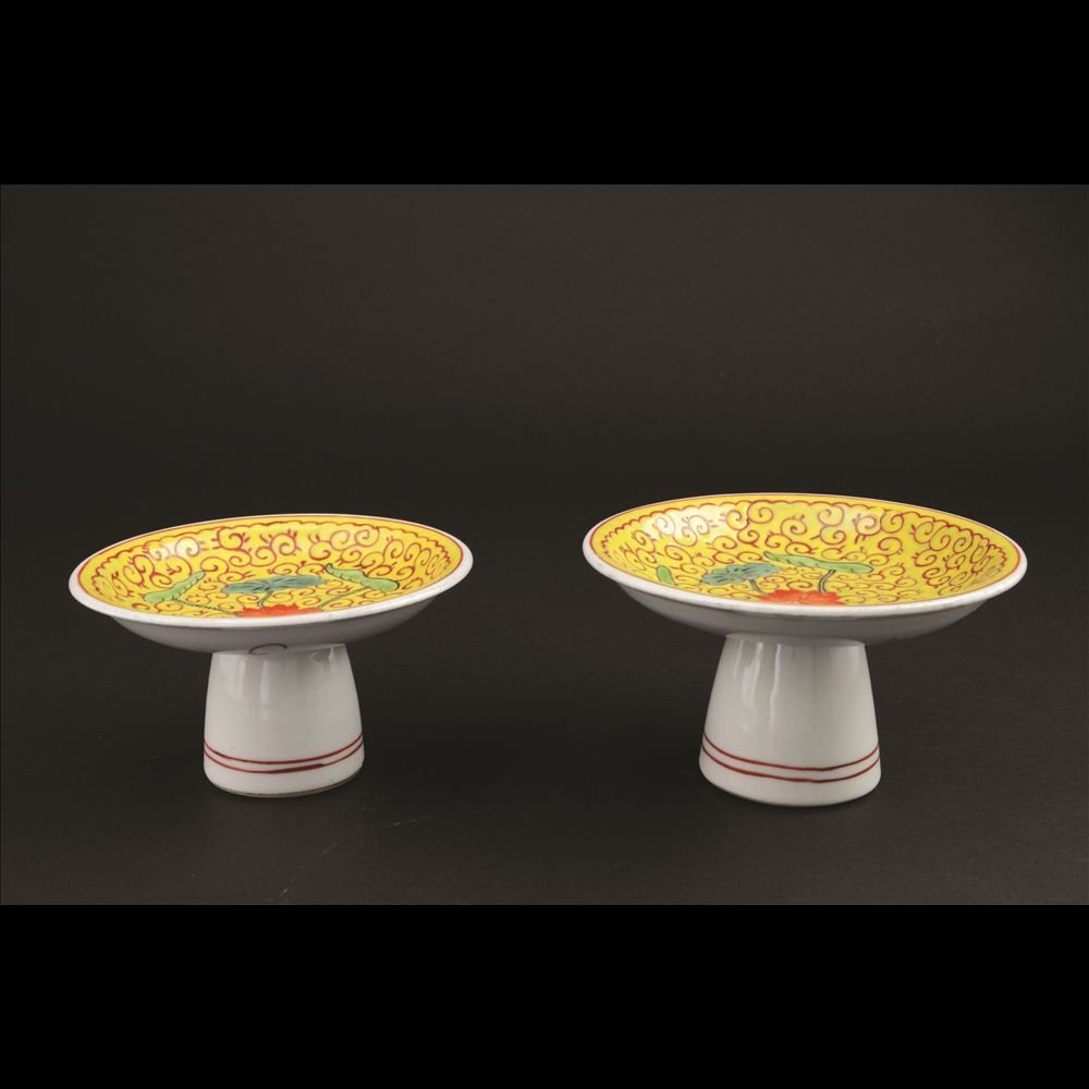 20: PAIR OF YELLOW GROUND FAMILLE JAUNE STEM PLATES