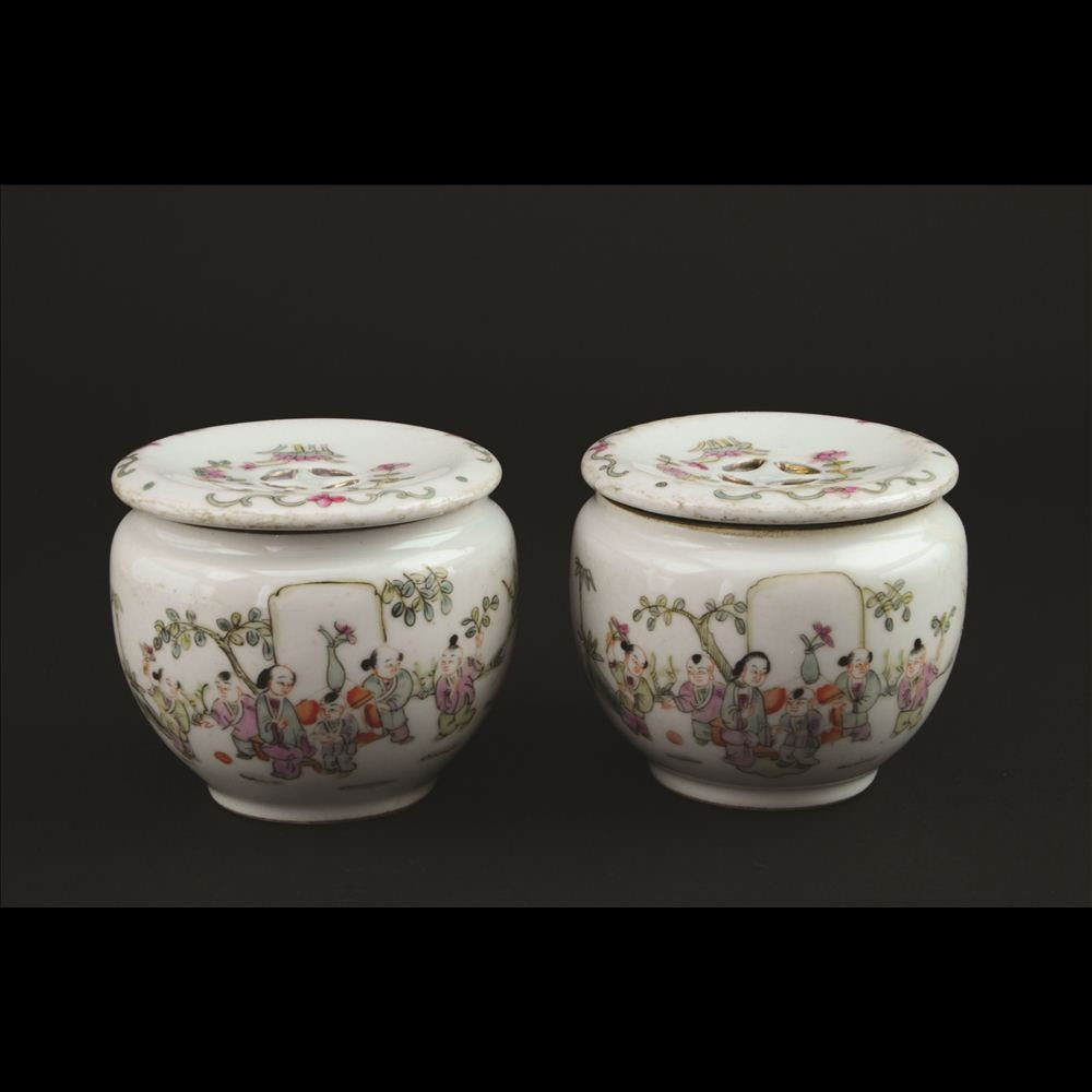 21: PAIR OF SMALL FAMILLE ROSE PORCELAIN LIDDED JARS