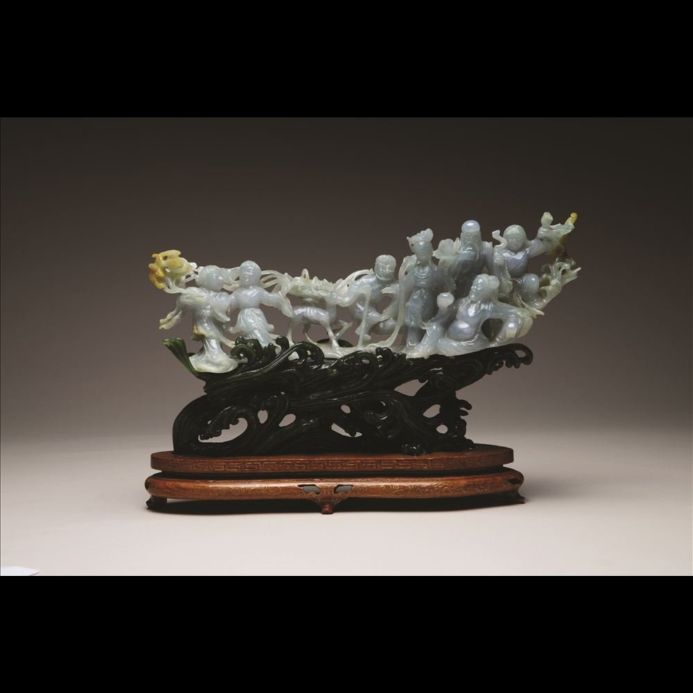 46: JADEITE CARVING OF EIGHT IMMORTALS CROSSING SEA