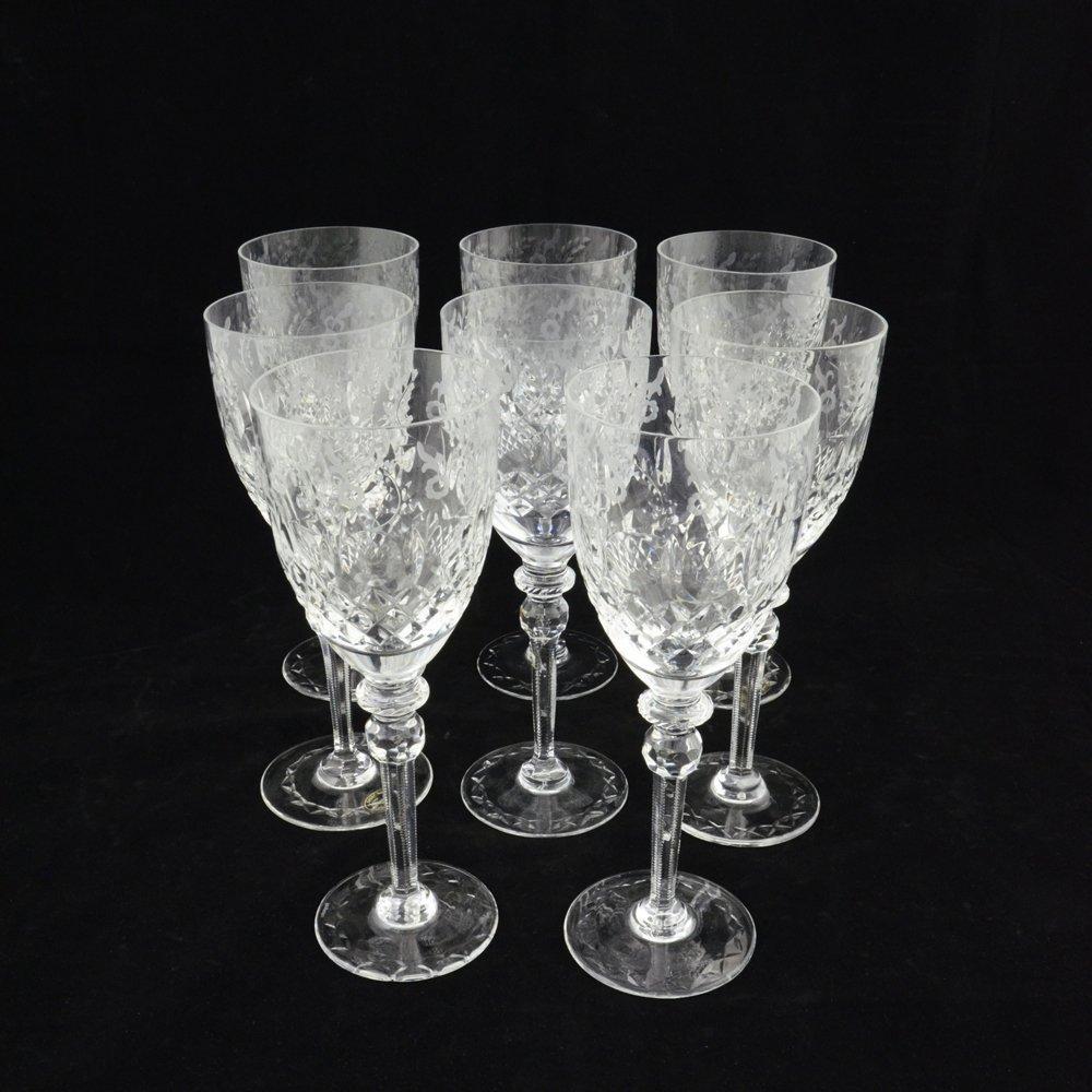SET OF 8 ANTIQUE CRYSTAL WINE GLASSES