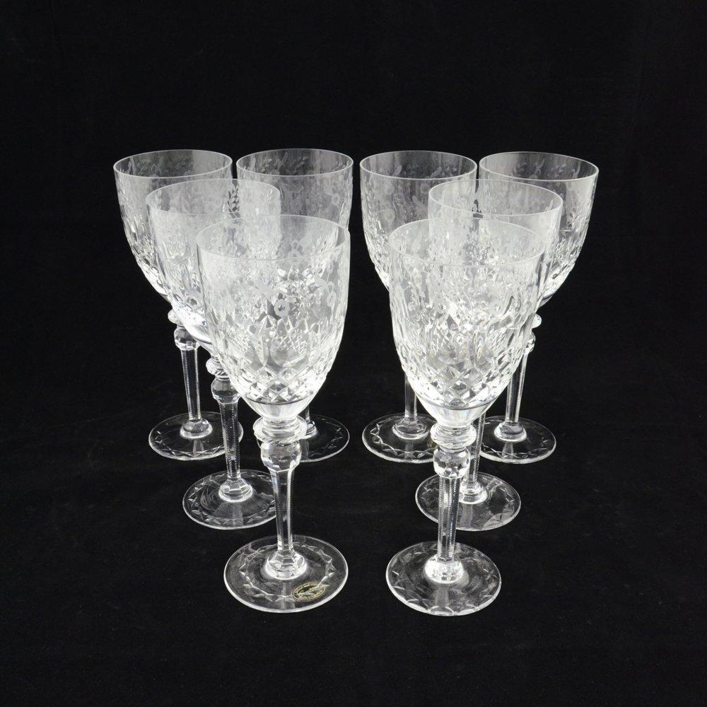 SET OF 8 ANTIQUE CRYSTAL WINE GLASSES - 2