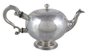 A George II Scottish silver bullet shaped tea pot by