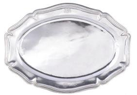 A French silver shaped oval meat or fish plate by Emile