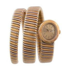Movado, a two colour bracelet wristwatch, manual wind