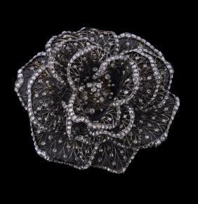 A Belle Epoque diamond rose brooch , circa 1900