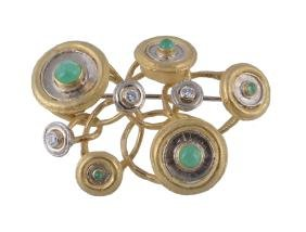 A Diamond And Emerald Brooch Attributed To Claudio