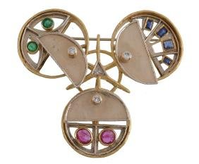 A diamond, ruby, sapphire and emerald brooch by Claudio