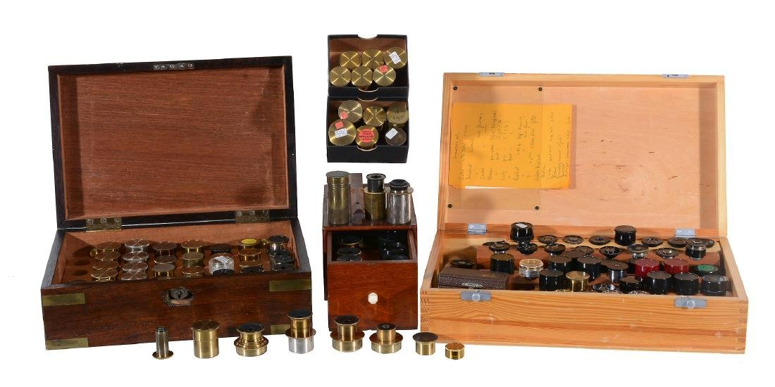 A large collection of English microscope ocular and