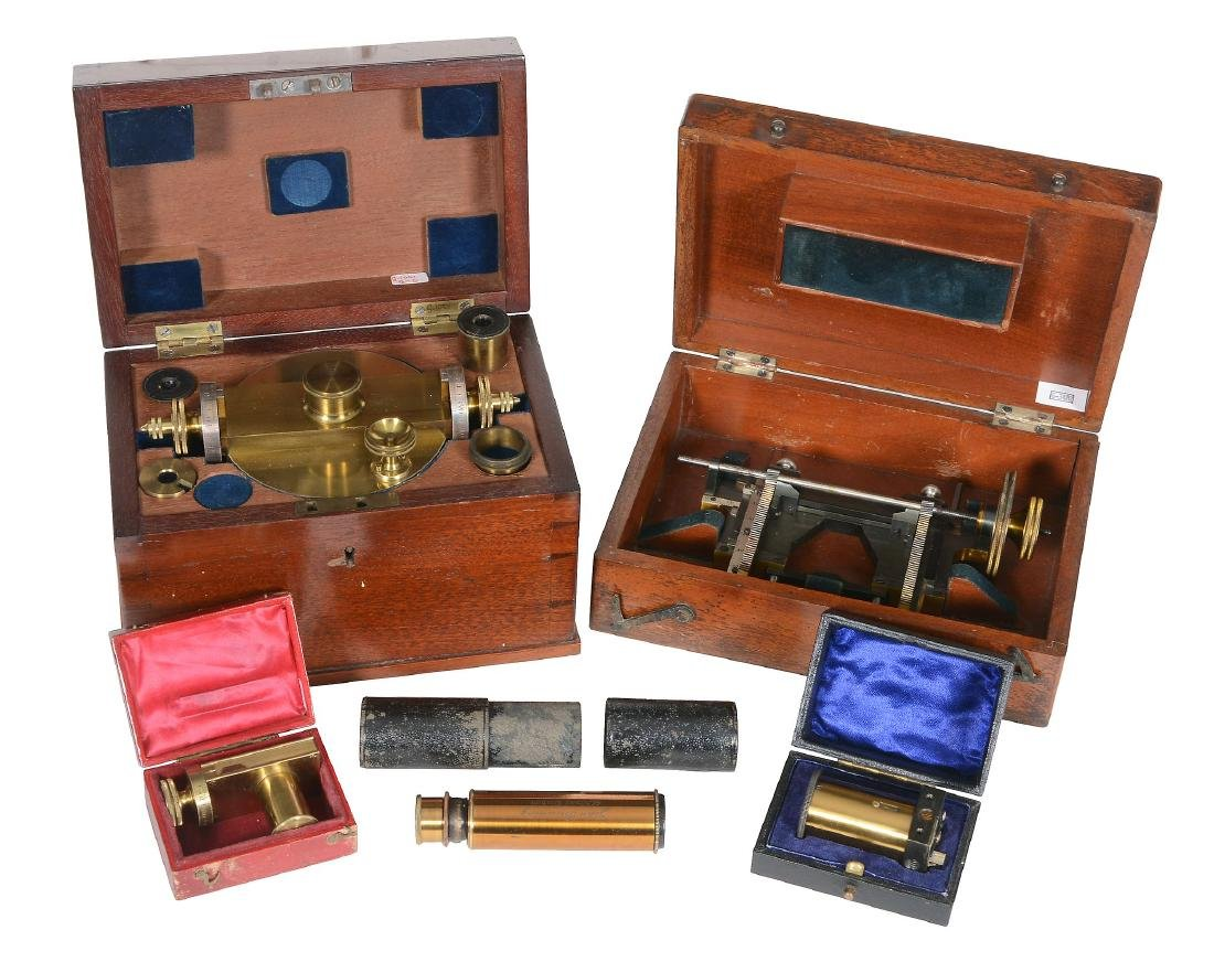 A Victorian lacquered brass combined screw micrometer