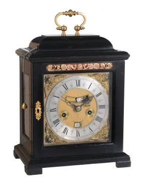 A William And Mary Ebonised Table Clock With