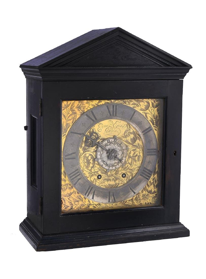 An important early ebony spring pendulum timepiece with