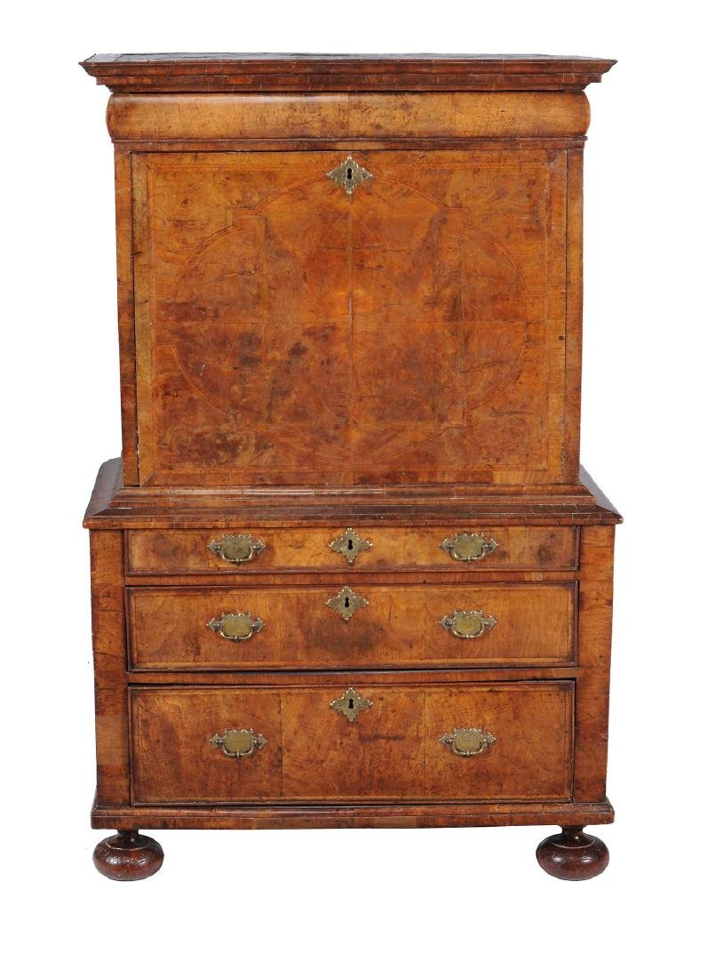 A Queen Anne walnut and feather banded escritoire,