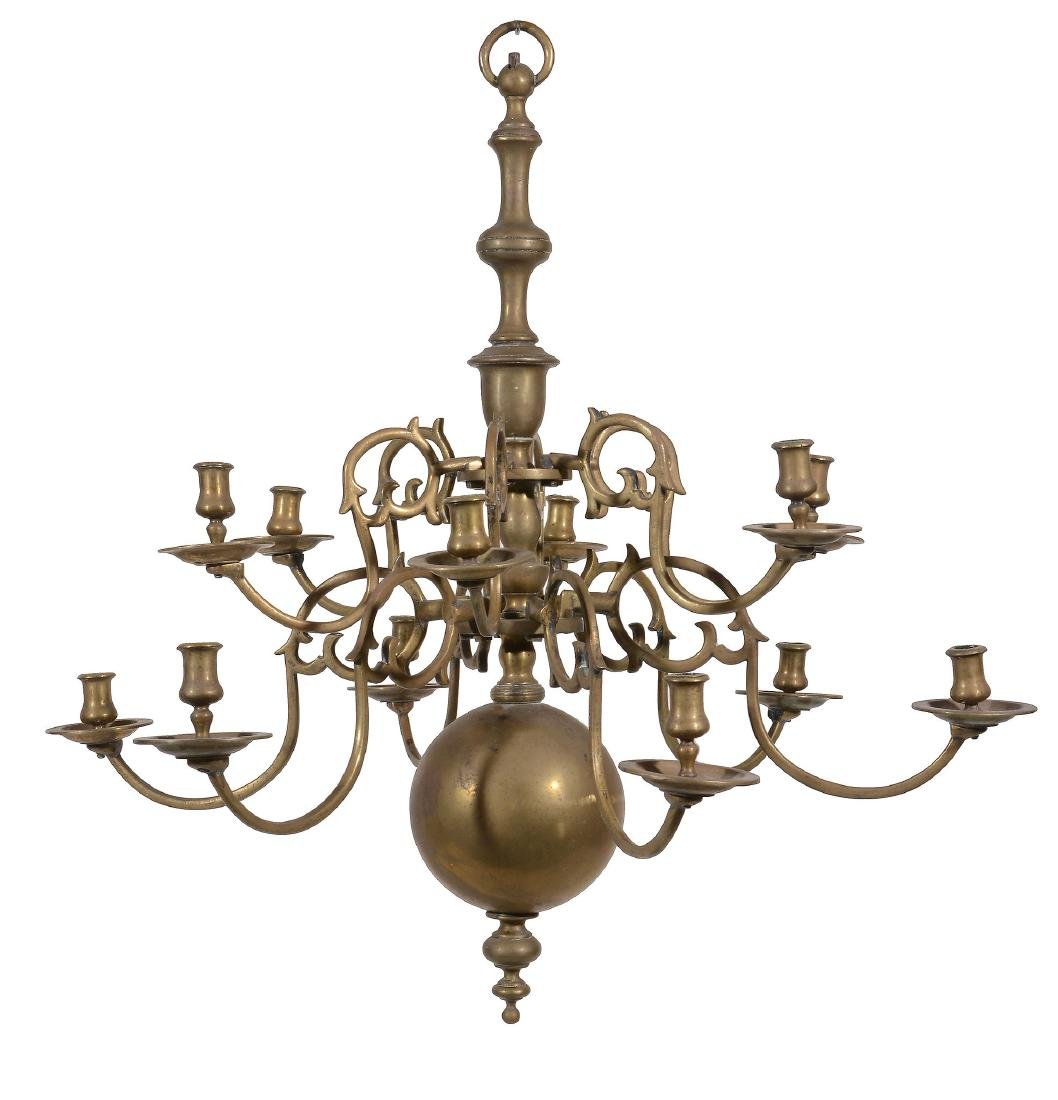 A brass twelve light chandelier, late 17th / early 18th