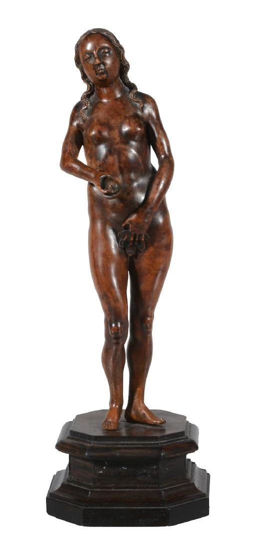 A German sculpted boxwood model of Eve in the manner of