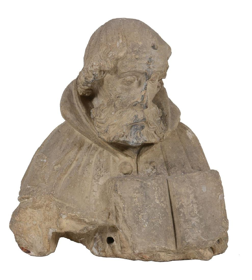 A French sculpted limestone bust of a saint, possibly