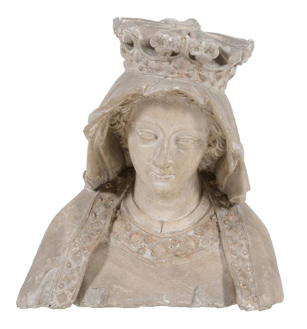 A French sculpted limestone bust of the Virgin, 14th