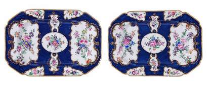 A pair of Worcester scale blue-scale ground shaped