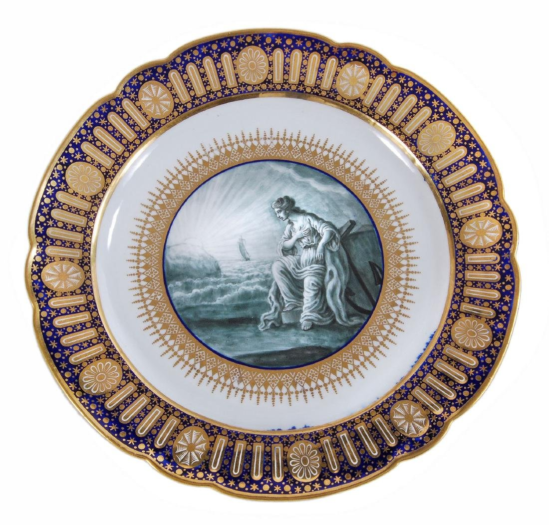 A Worcester plate from the celebrated 'Hope