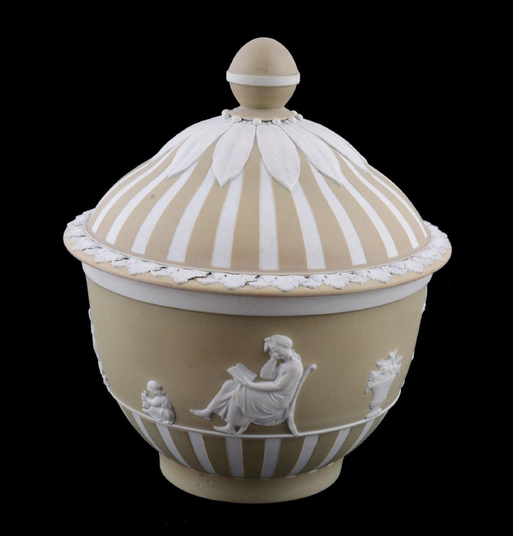 A Wedgwood pale-green dip white jasper sugar bowl and