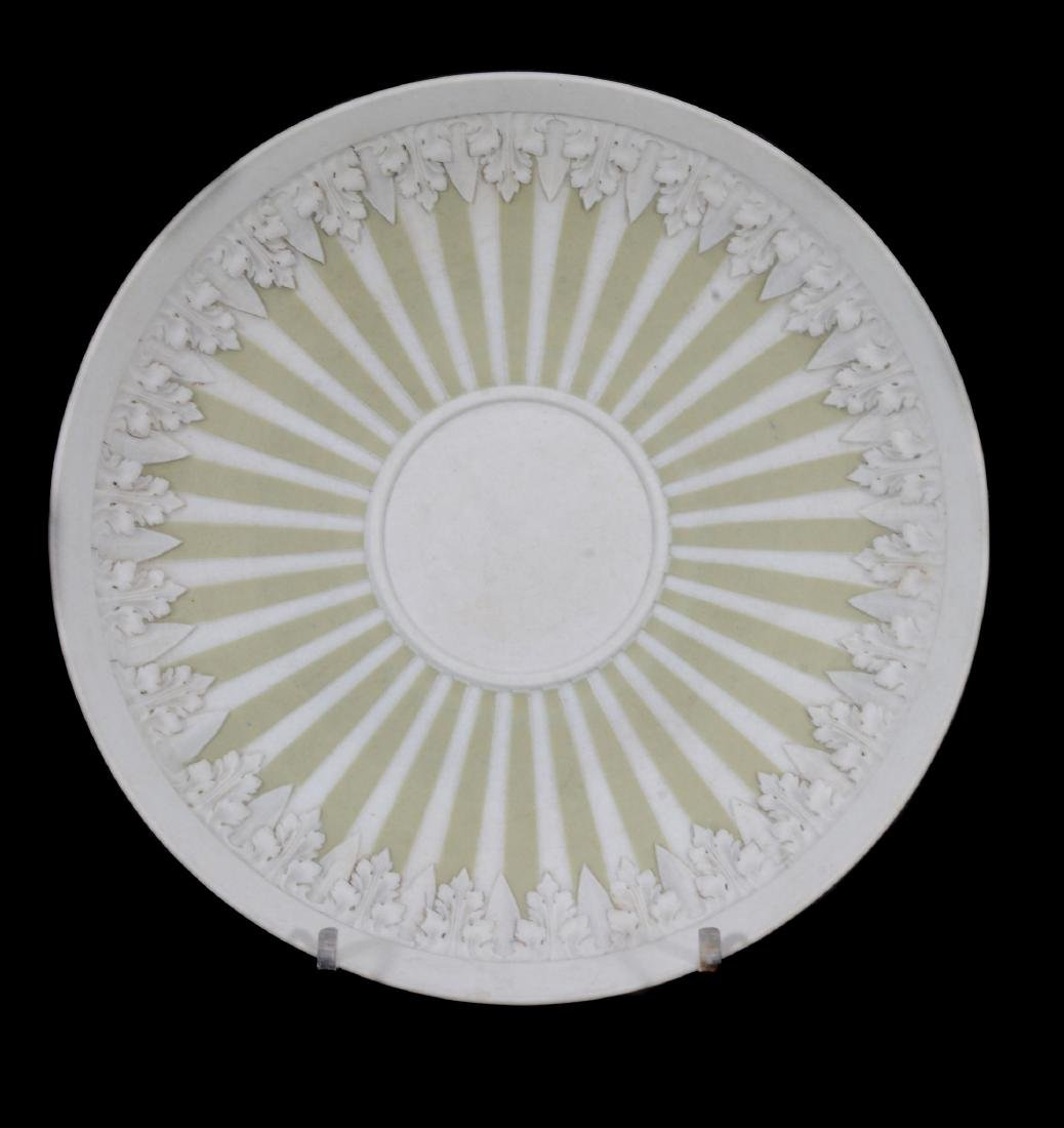 A Wedgwood pale-green jasper-dip tea bowl and saucer, - 3