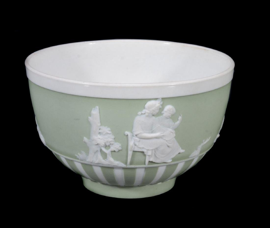 A Wedgwood pale-green jasper-dip tea bowl and saucer, - 6