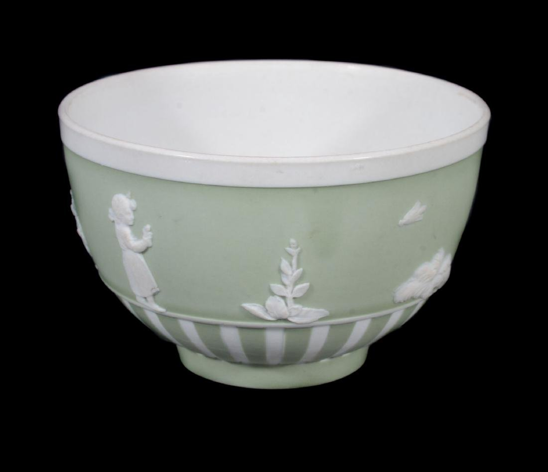 A Wedgwood pale-green jasper-dip tea bowl and saucer, - 7