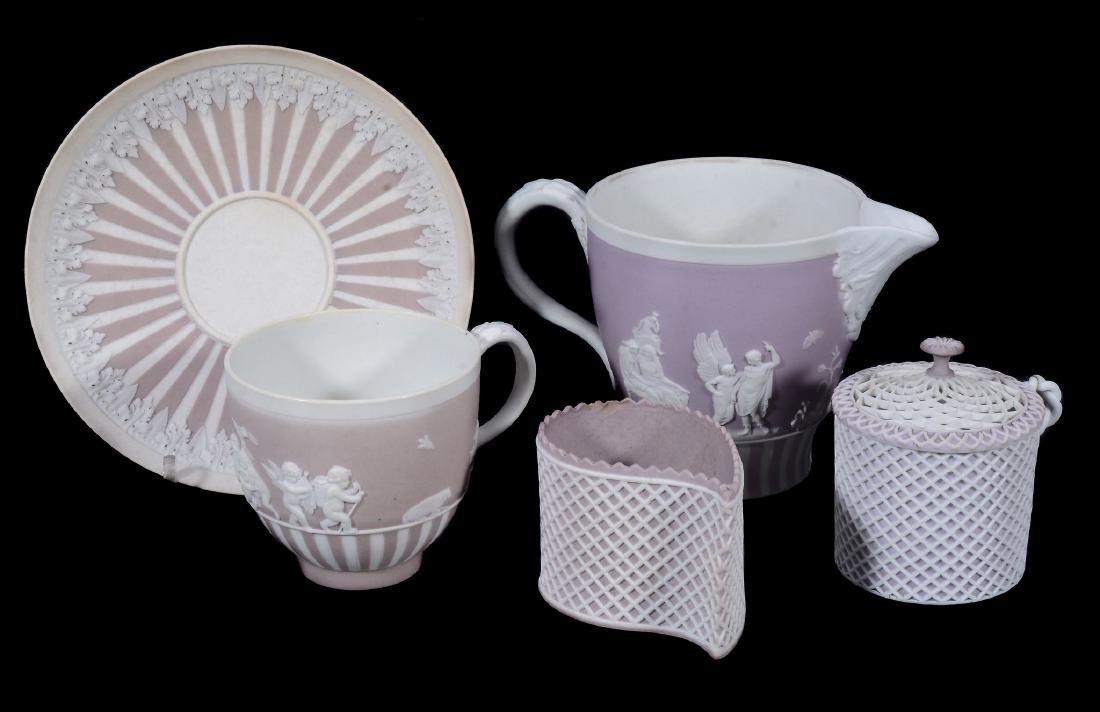 A Wedgwood lilac-dip jasper cylindrical custard cup and