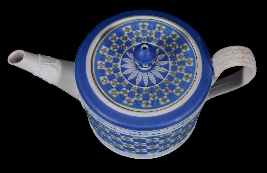 A Wedgwood tri-colour jasper 'diced' cylindrical teapot - 5