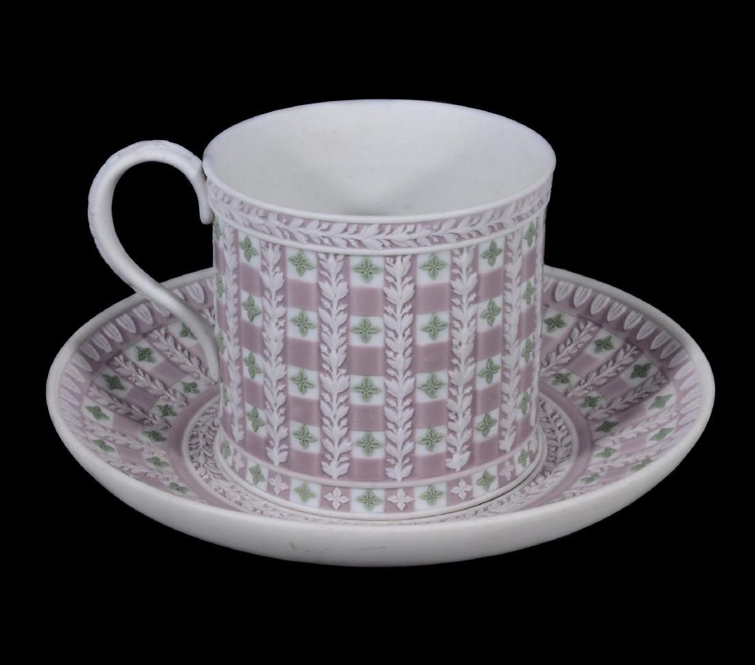 A Wedgwood tri-colour jasper 'diced' coffee can and