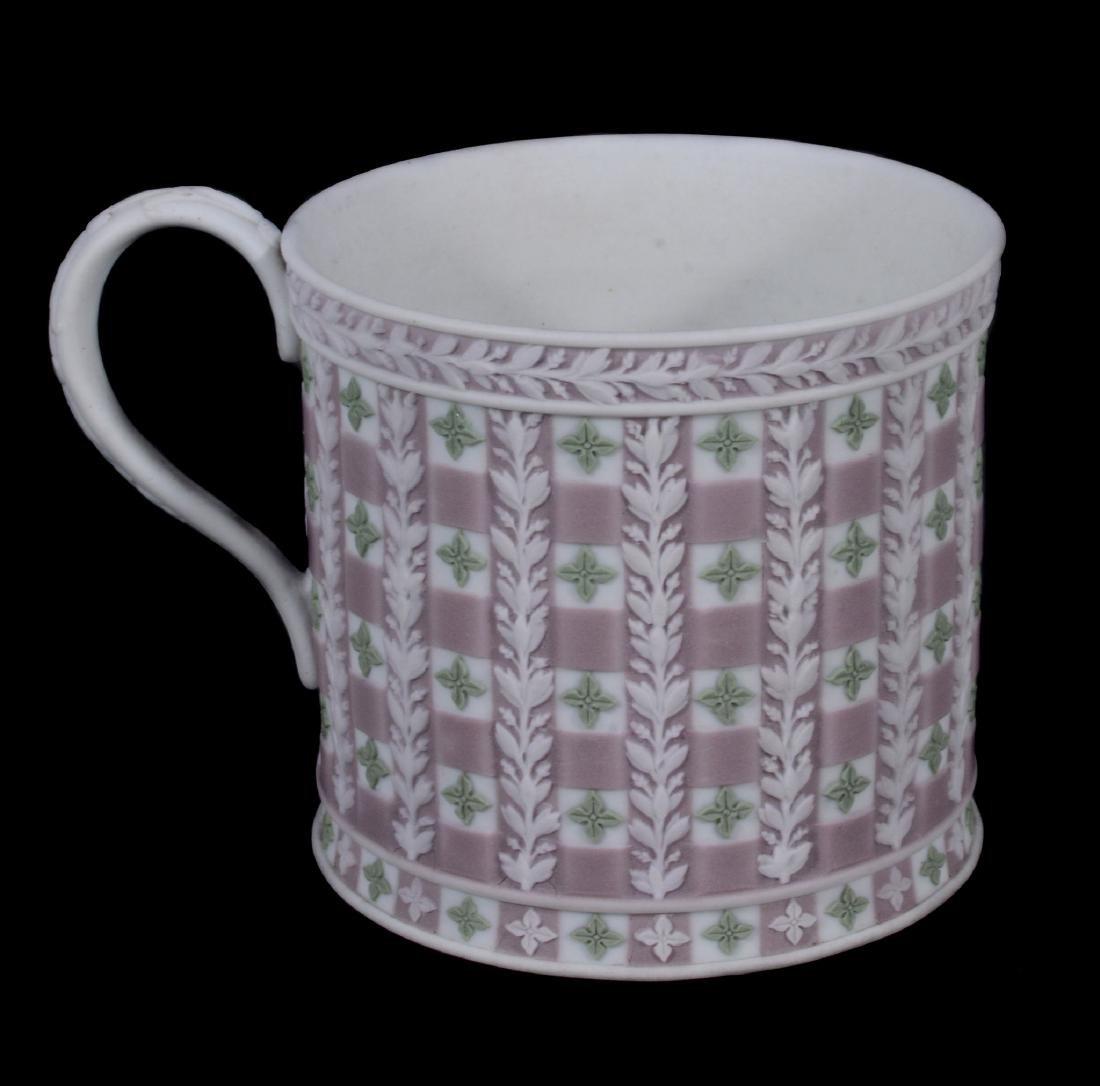 A Wedgwood tri-colour jasper 'diced' coffee can and - 5