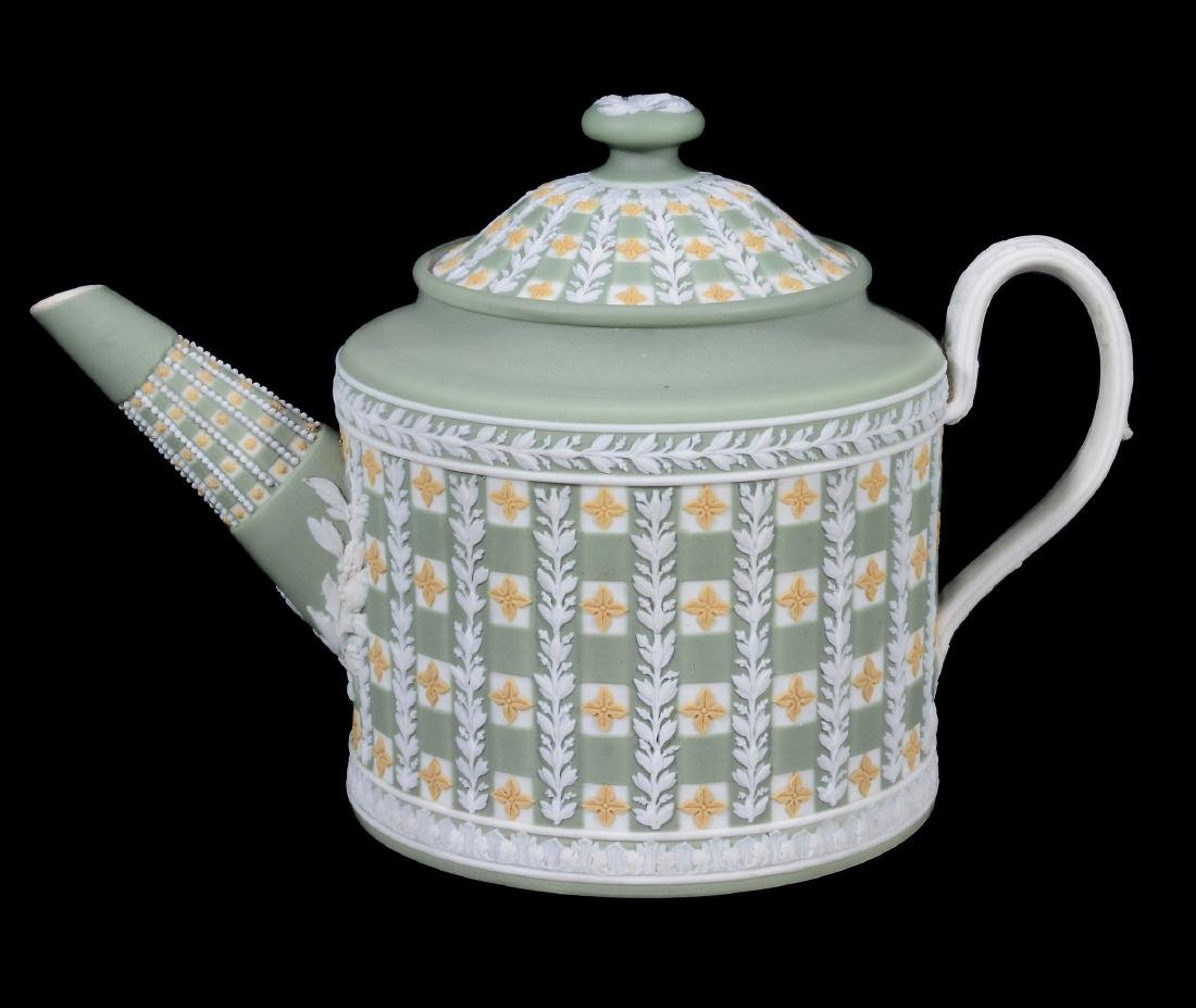 A Wedgwood tri-colour jasper 'diced' cylindrical teapot