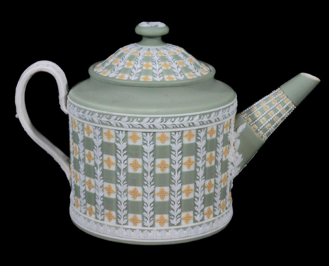 A Wedgwood tri-colour jasper 'diced' cylindrical teapot - 3
