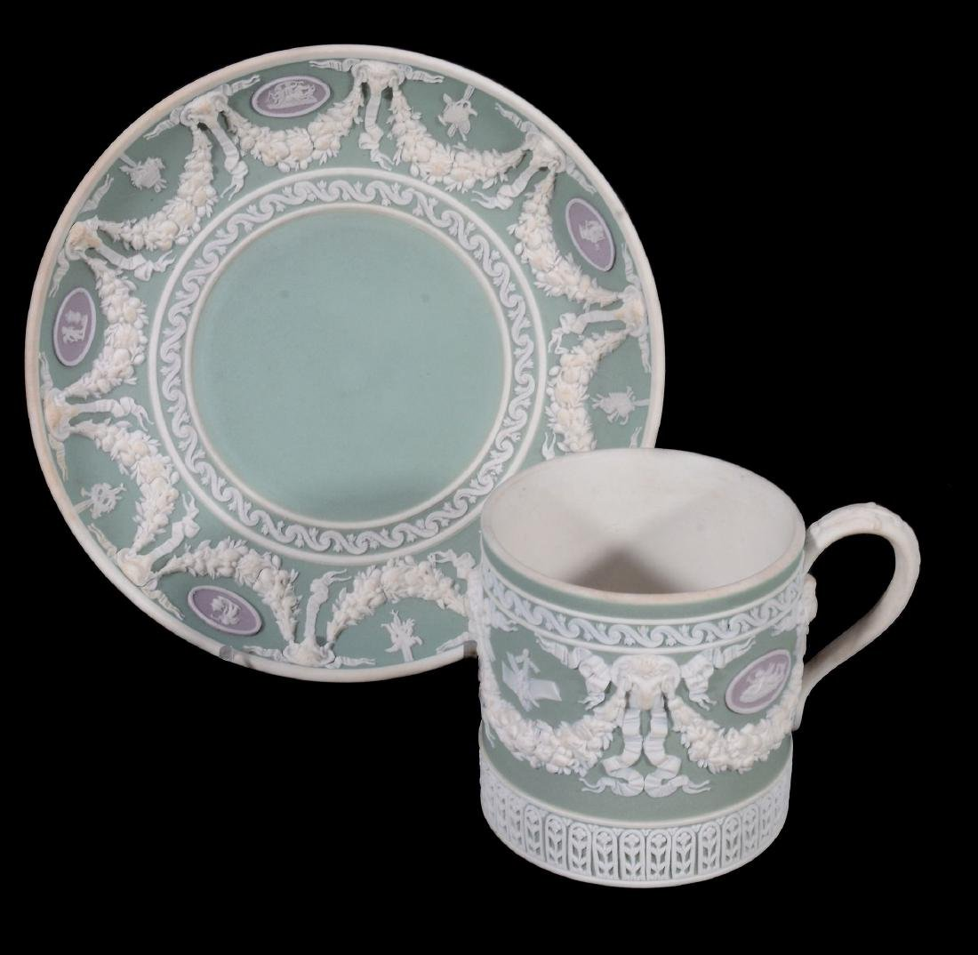 A Wedgwood three colour jasper coffee can and saucer, - 2
