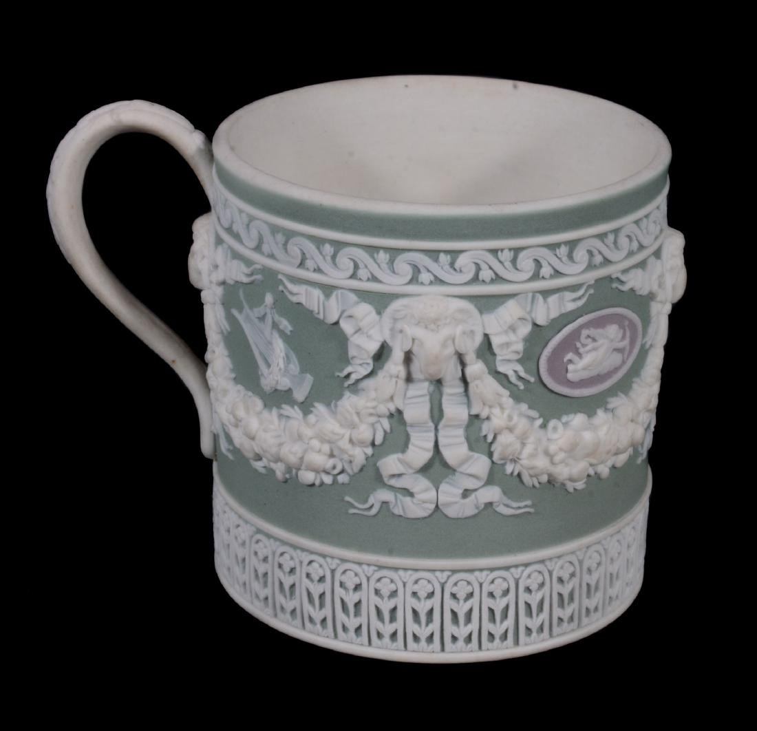 A Wedgwood three colour jasper coffee can and saucer, - 8